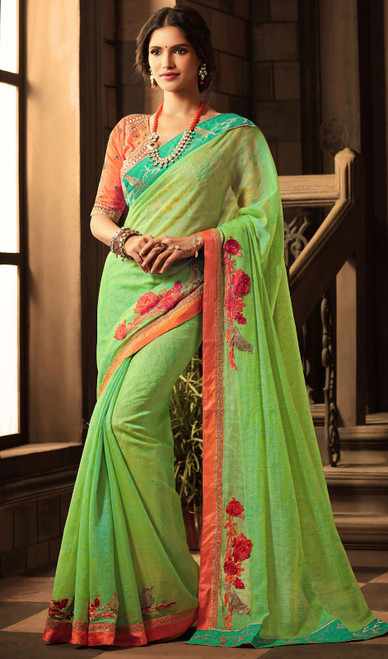 Embroidered Silk Green Color Sari