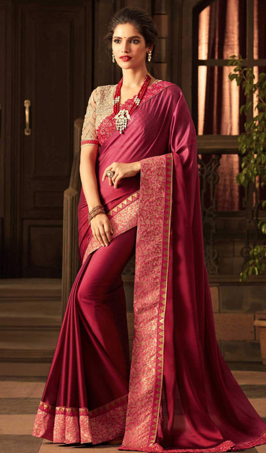 Violet Color Shaded Silk Embroidered Sari