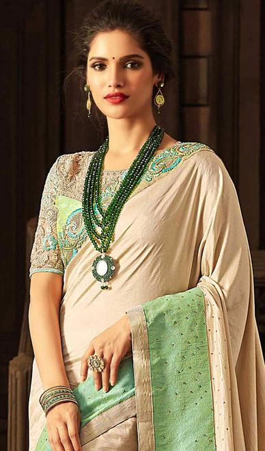 Embroidered Cream Color  Silk Sari