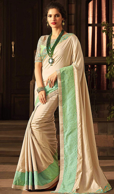 Embroidered Cream Color  Silk Sari