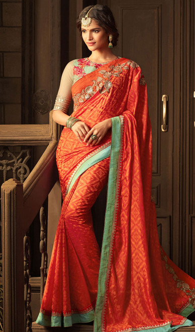 Orange Color Shaded Embroidered Silk Sari