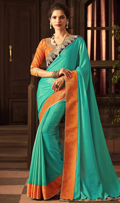Shaded Silk Turquoise Color Embroidered Sari