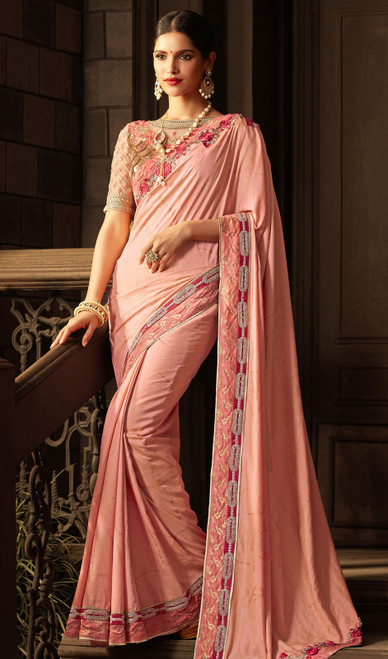 Shaded Embroidered Pink Color Silk Sari