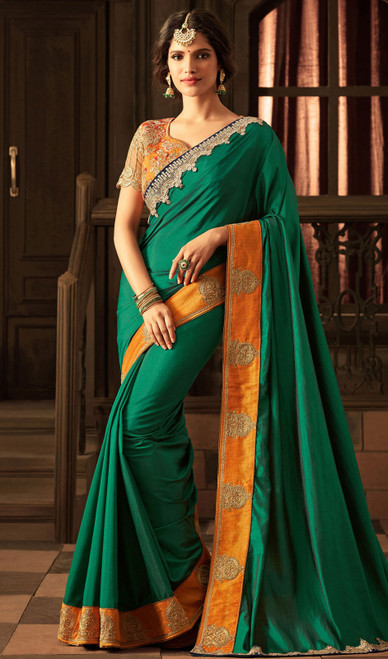 Silk Green Embroidered  Color  Sari