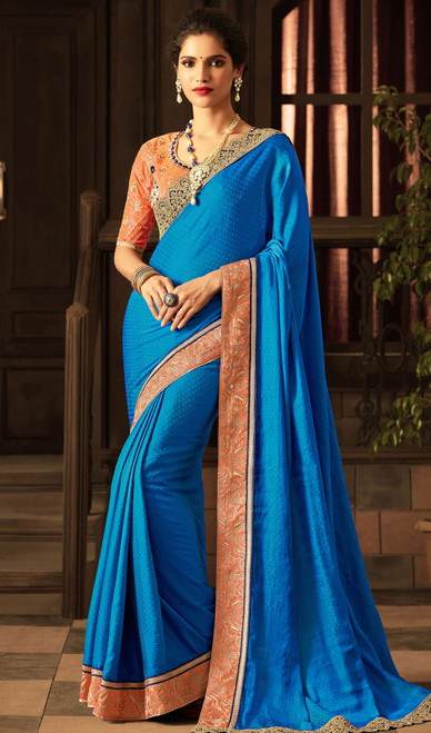 Blue Color Shaded Embroidered Silk Sari