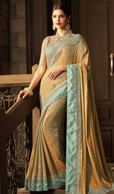 Beige Color Shaded Silk Embroidered Sari