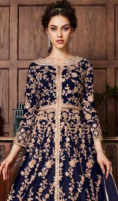 Net Embroidered Navy Blue Color  Dress