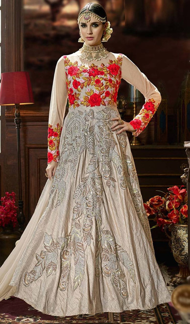 Anarkali Suit in Multi Color Embroidered Silk