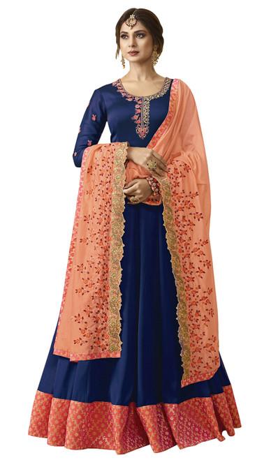 Navy Blue Color Georgette Anarkali Suit