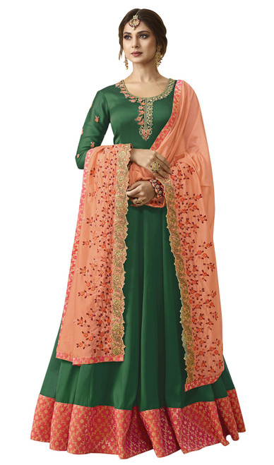 Green Color Embroidered Resham  Georgette Anarkali Suit