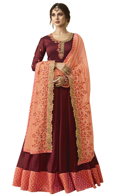 Maroon Color Georgette Embroidered Anarkali Dress