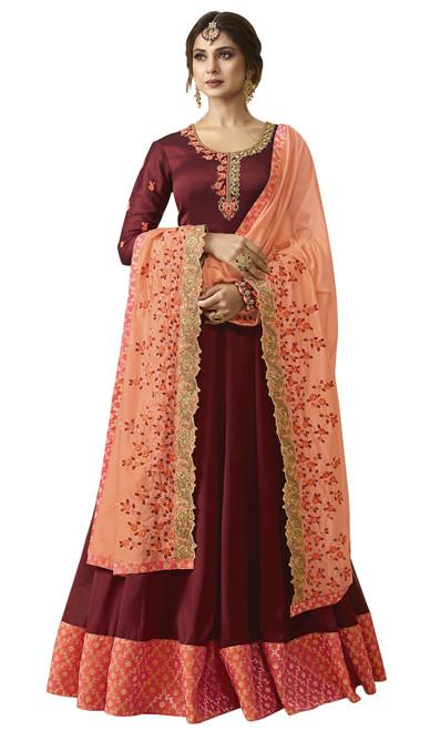 Maroon Color Georgette Embroidered Anarkali Dress