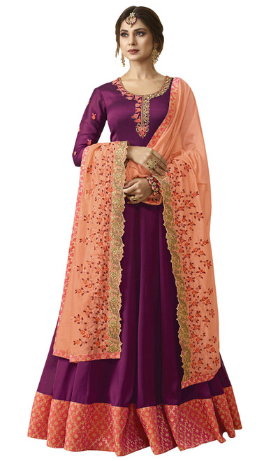 Anarkali Suit in Wine Color Embroidered Georgette