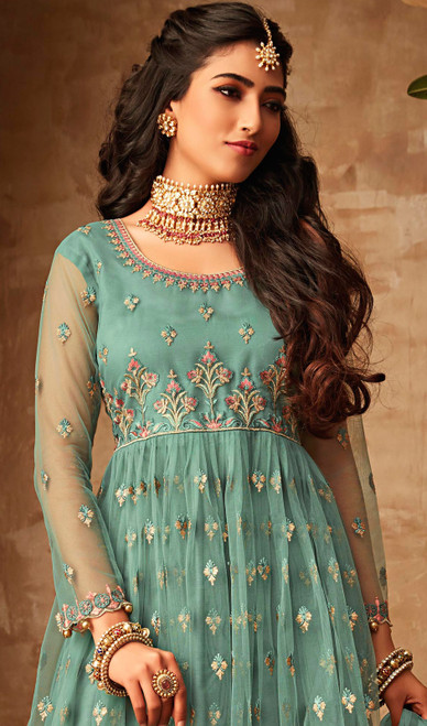 Net  Sea Green Color Embroidered Palazzo Suit