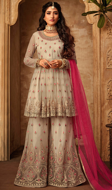 Beige Color Net Embroidered Palazzo Dress