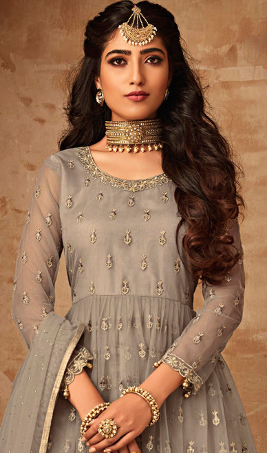 Gray Color Shaded  Embroidered Net Palazzo Suit