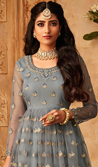 Gray Color Embroidered Net Palazzo Suit