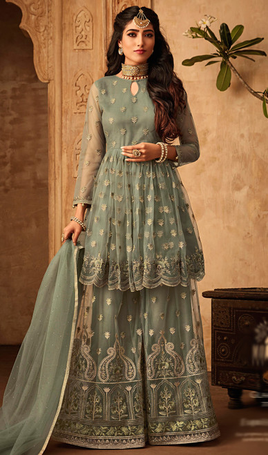 Designer Suit in Green Color Shaded  Embroidered Net