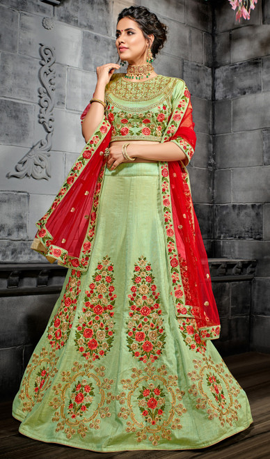 Embroidered Green Color Silk Lehenga Choli