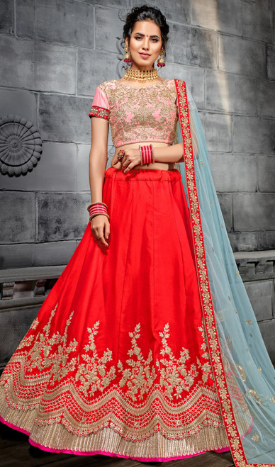 Embroidered Red Color Silk Choli Skirt