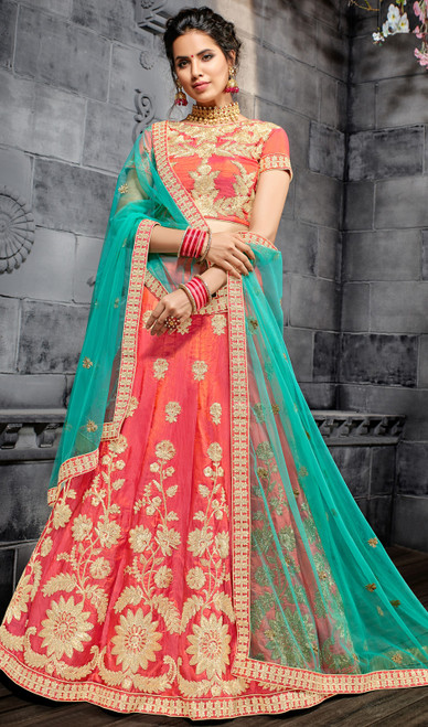 Salmon Color Shaded Embroidered Silk Lahenga Choli