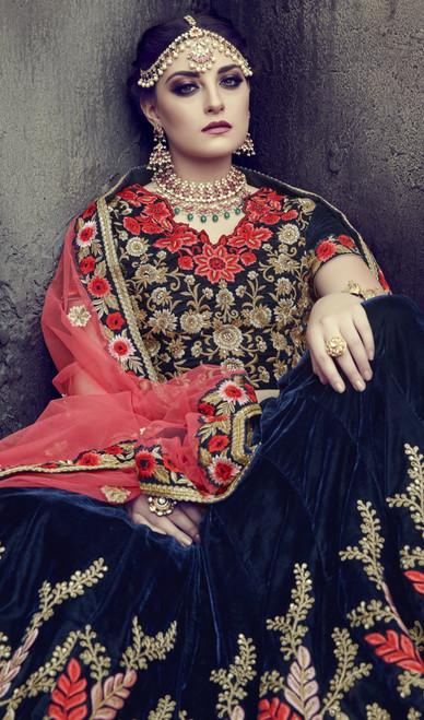 Black Color Embroidered Velvet Lehenga Choli