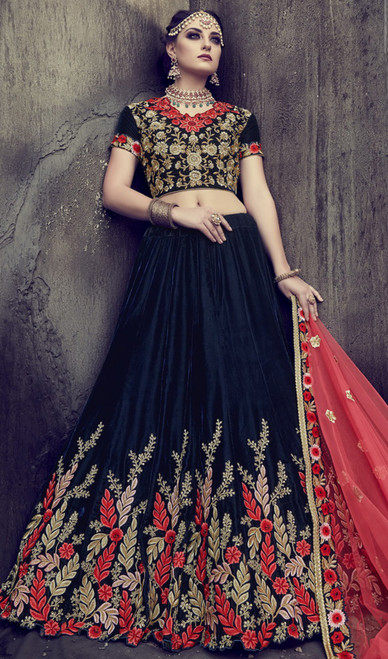 Black Color Embroidered Velvet Lehenga Choli