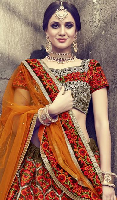 Multicolor Shaded Velvet Embroidered Choli Skirt