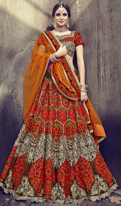 Multicolor Shaded Velvet Embroidered Choli Skirt