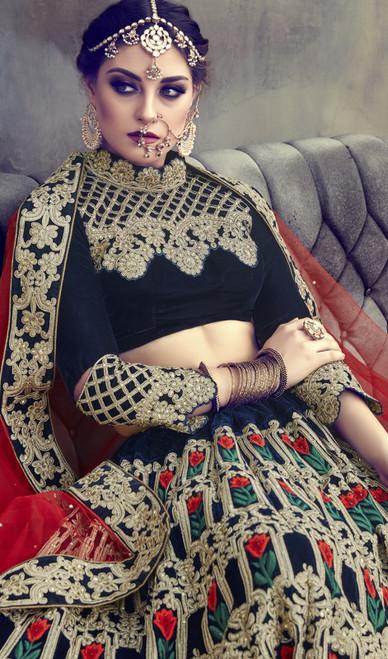 Lehenga Choli in Multicolor Shaded Velvet