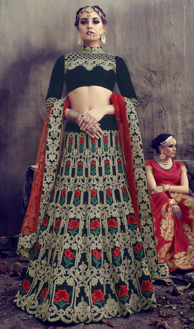 Lehenga Choli in Multicolor Shaded Velvet