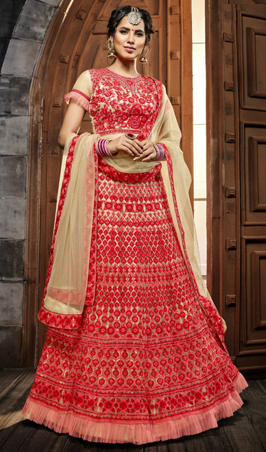 Red Color Embroidered Net Lehenga Choli