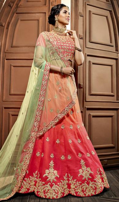 Peach and Red Color Shaded Net Lahenga Choli