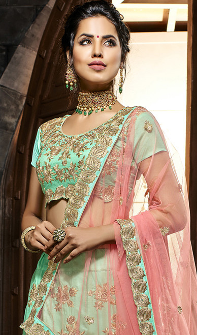 Sea Green Color Embroidered Net Lehenga Cholie