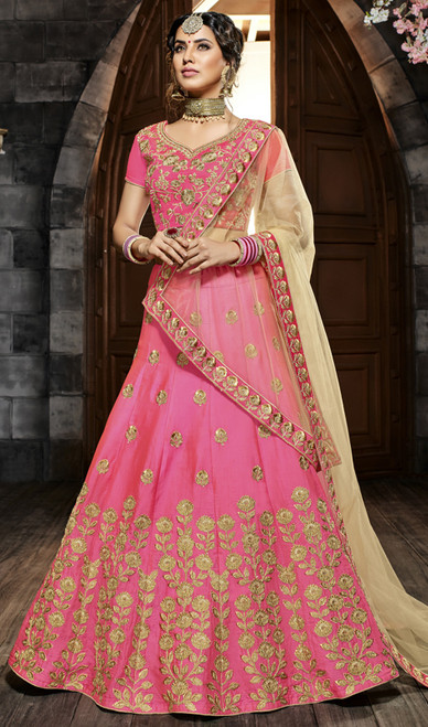 Pink Color Lehenga Choli  Embroidered Silk