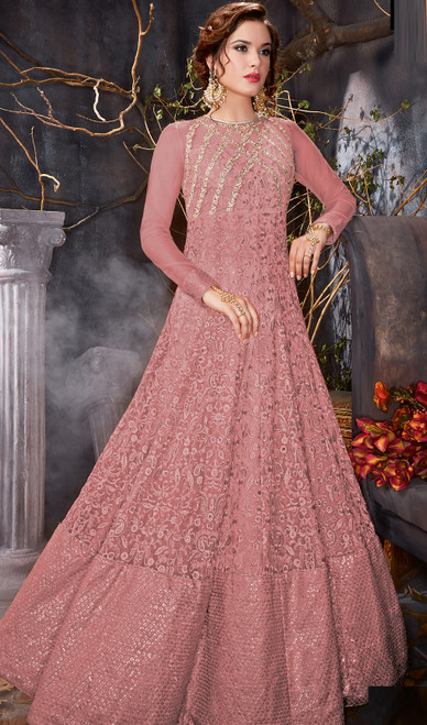 Embroidered Net Pink Color  Anarkali Suit