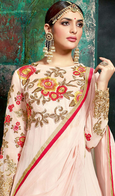 Embroidered Peach Color Georgette Anarkali Suit