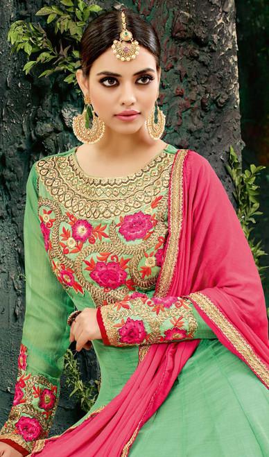 Embroidered Green Color Georgette Anarkali Suit