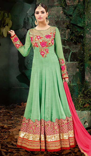 Embroidered Green Color Georgette Anarkali Suit