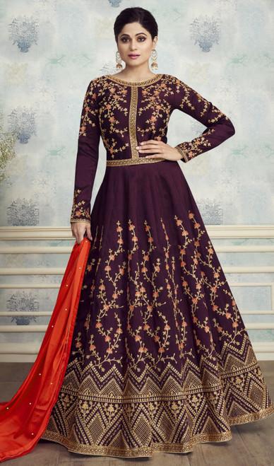 Shamita Shetty Purple Color Silk Anarkali Suit