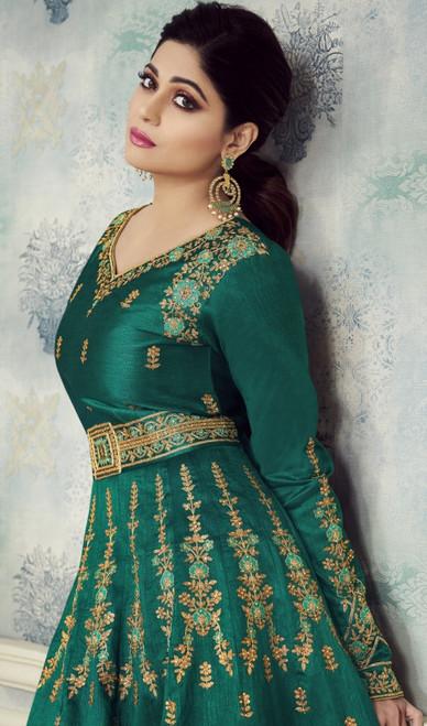 Shamita Shetty Green Color Silk Anarkali Dress