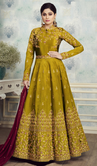 Green Color Silk Shamita Shetty Anarkali Suit