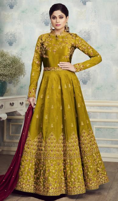 Green Color Silk Shamita Shetty Anarkali Suit