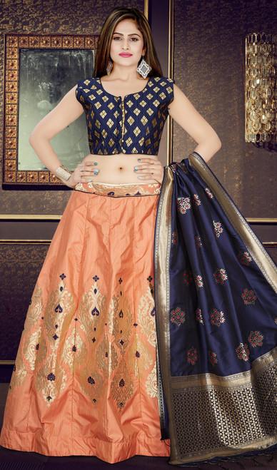 Embroidered Silk Peach Color Lahenga Choli