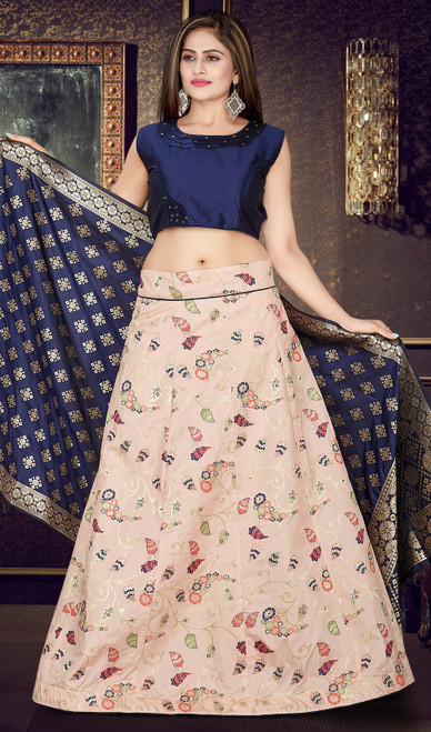 Light Pink Color Silk Embroidered Lehenga Cholie