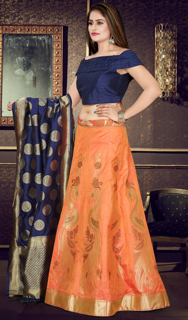 Orange Color Embroidered Silk Cholie Skirt