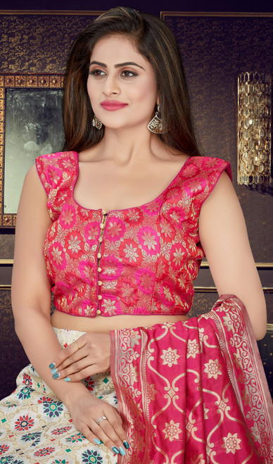 Multicolor Shaded Silk Embroidered Lahenga Cholie