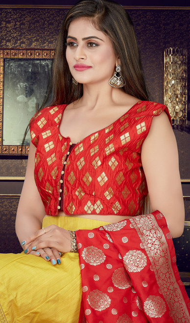 Lahenga Choli in Yellow Color Embroidered Silk