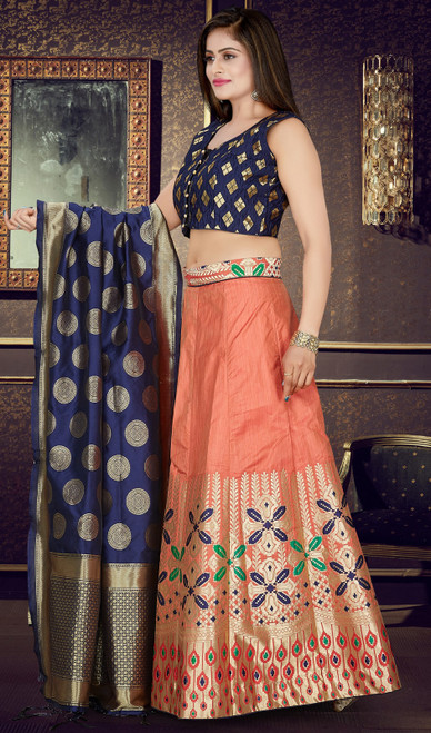 Choli Skirt, Silk Fabric in Peach Color Shaded