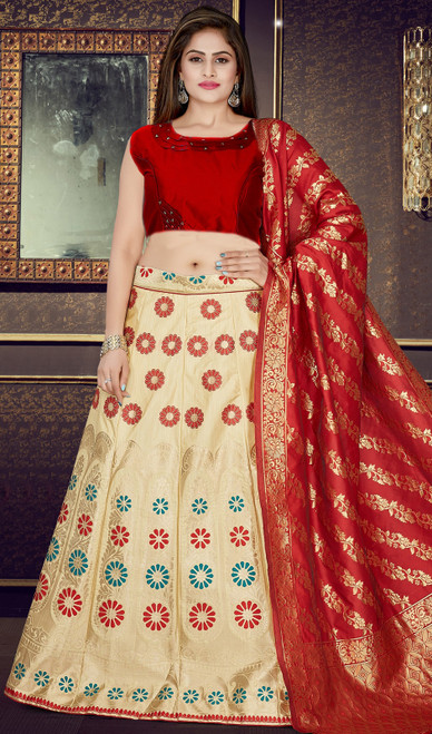 Lehenga Choli in Cream Color Embroidered Silk